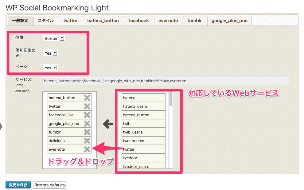 WP Social Bookmarking Light nekonomemo net WordPress